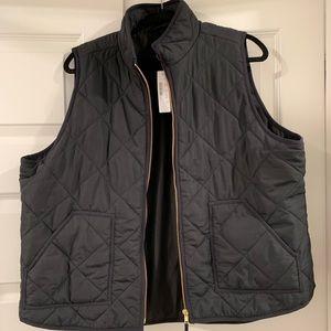 NWT J. Crew Mercantile black quilted zip vest 🖤